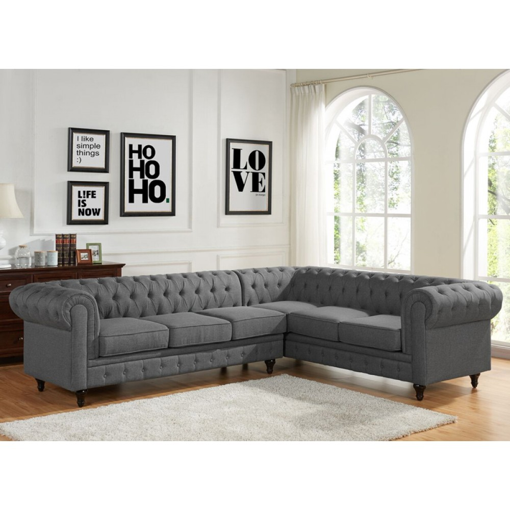 tufted sectional sofa linen fabric