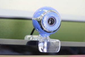 Video chat through this blue Web cam is the best way to start organising an office relocation