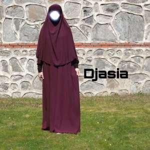Abaya A Linie mit Khimar lila