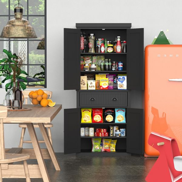 Homcom Traditional Freestanding Kitchen Pantry Cabinet Cupboard With Doors And Shelves Adjustable Shelving Black Wooden Organizer Home Furniture Storage Aosom Canada