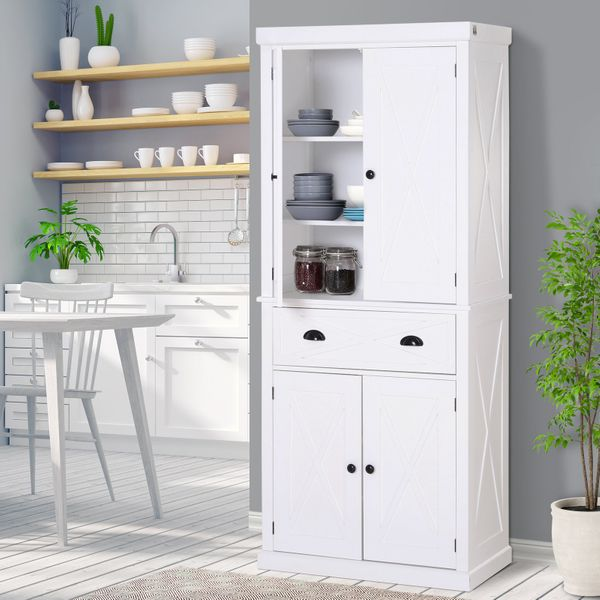 Homcom Free Standing Kitchen Pantry 6ft Tall Wood Kitchen Storage Cabinet With Adjustable Shelves 2 Wood Pantries A Drawer And Sturdy Design White Pantry Buffet Aosom