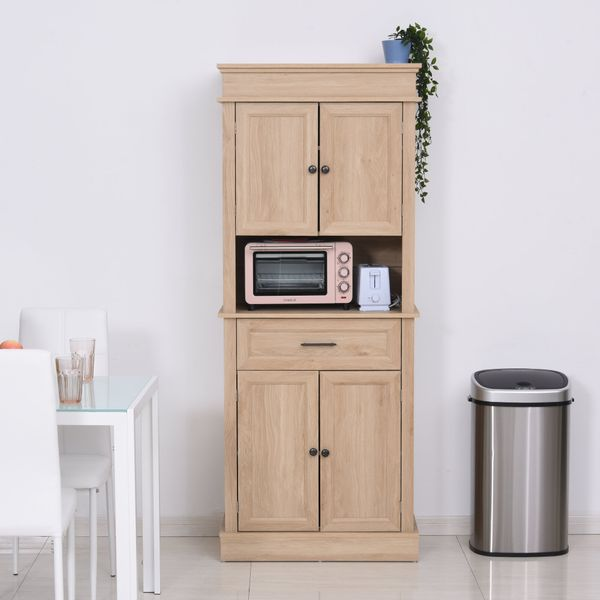 Homcom Free Standing Kitchen Pantry Traditional Tall Kitchen Pantry Cabinet Cupboard With Doors And Shelves Adjustable Shelving Oak Wooden Pantry Buffet Aosom