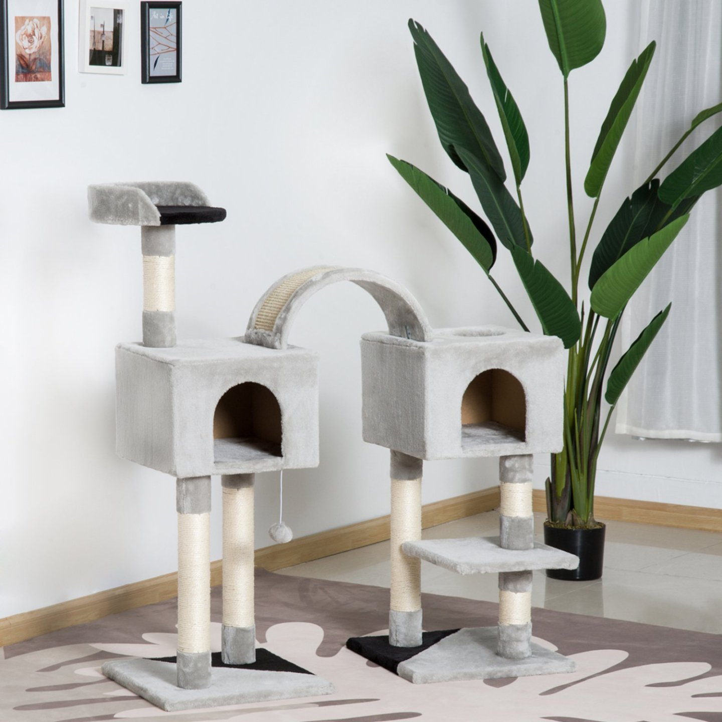 PawHut Cat Tree Tower Scratcher Condo Pet House Post Furniture Gray