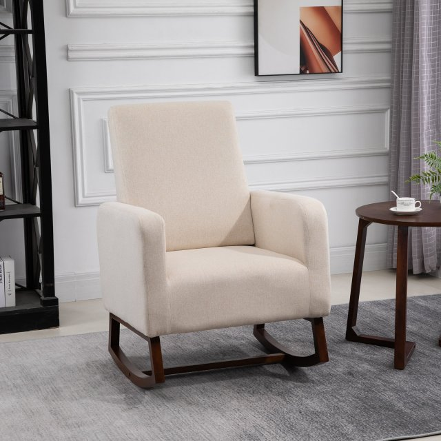 HOMCOM Fabic Rocking Chair with Solid Curved Wood Base Rocker with Padded Seat Home Furniture Bedroom Living Room Relax Cream White