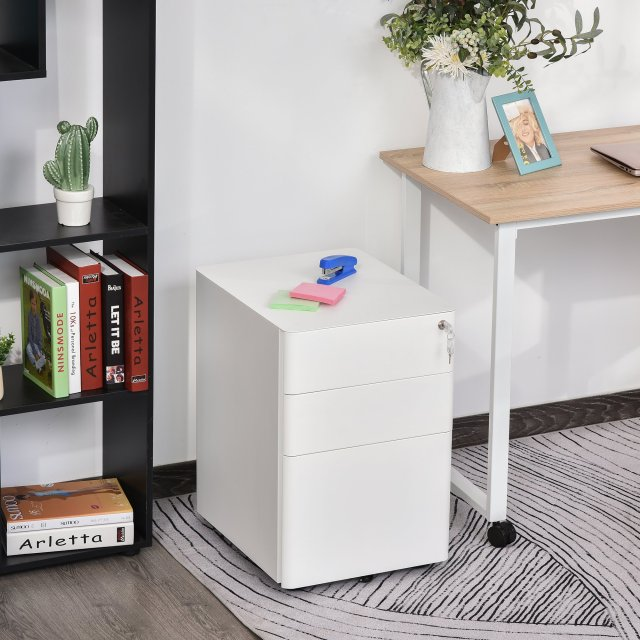Vinsetto 3 Drawers Steel File Cabinet with Lock and 5 Wheels Under Desk Mobile Filing Cabinet for Legal A4 Letter Size Home & Office White