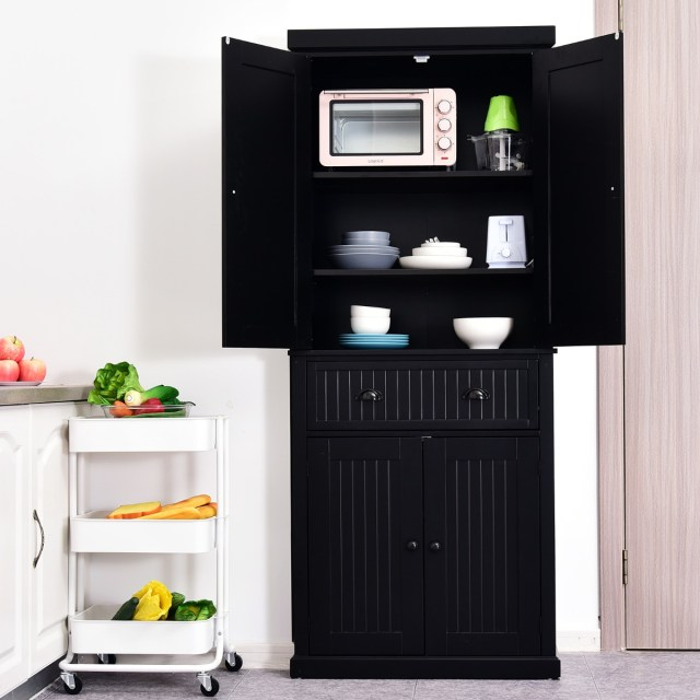 Adjustable Shelving Black Homcom Traditional Freestanding Kitchen Pantry Cabinet Cupboard With Doors Storage Cabinets Furniture