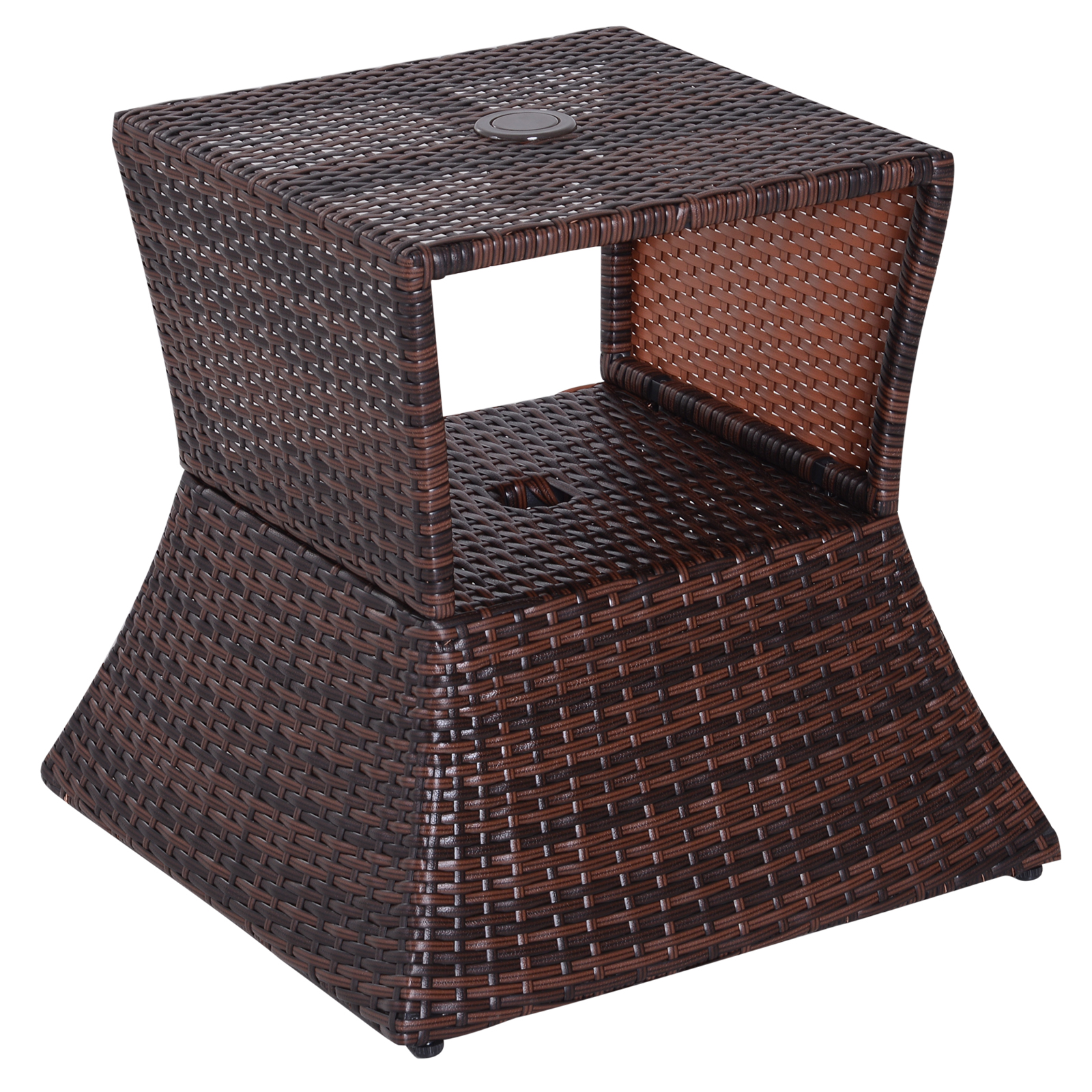 outsunny wicker rattan outdoor patio side table with umbrella hole
