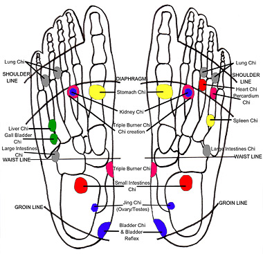 I tried to find a picture of the chi energy system online, but guess what, nothing to be found. Here's a chi-reflexology map instead - from the Australian College of Chi-Reflexology, no less!