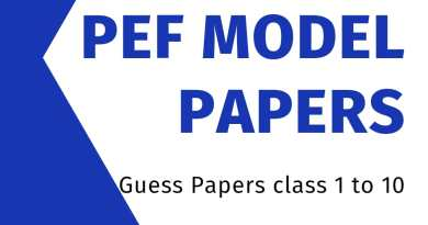 PEF Board Model Papers, Class2 to class 10th