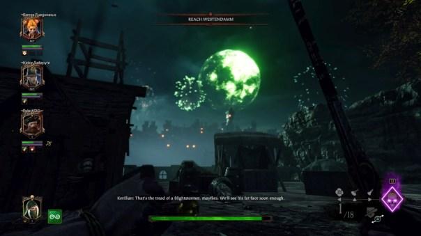 Wyjątkowy jak na Vermintide 2 piękny widok: fajerwerki na tle zielonego księżyca