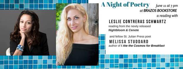 Reading with Leslie Contreras Schwartz at Brazos Bookstore in Houston to celebrate the release of her new book Nightbloom & Cenote