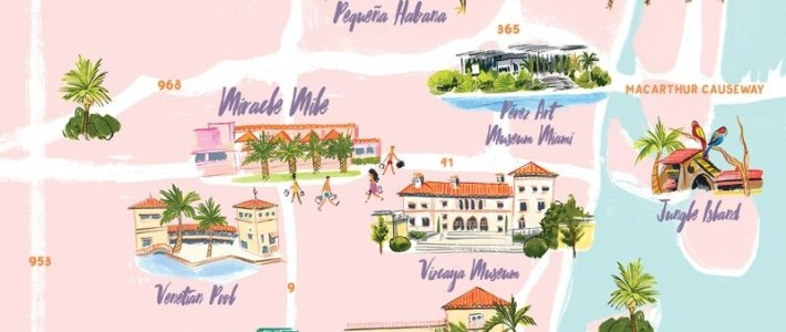Miami Map Illustratedlaura Shema For Jolly Edition intended for Miami Beach Edition Map