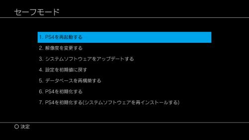 PS4セーフモードの画面