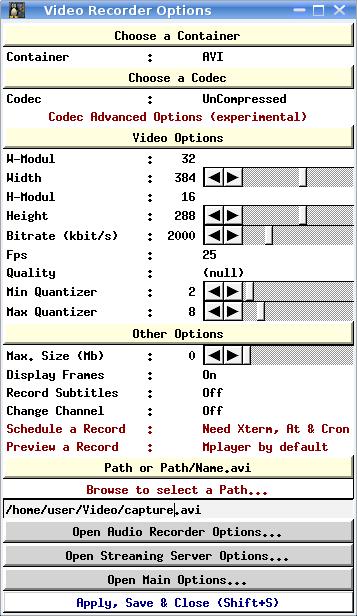 XdTX Video Recorder Options