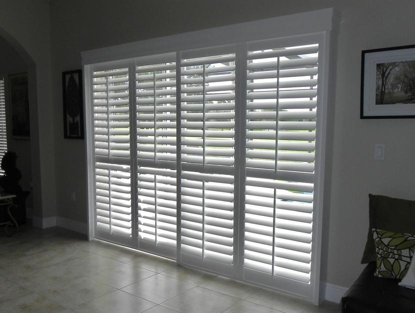 vertical blinds on a sliding glass door