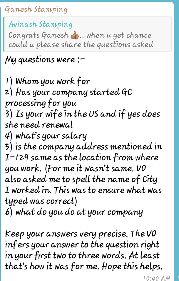 US Visa Interview recent and Latest questions Experiences F1 H1B L1 E3