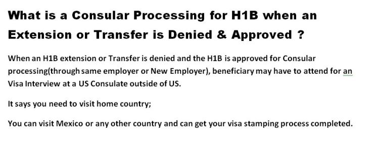 consular processing after h1b extension transfer denied