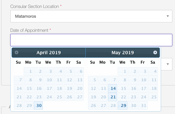 us visa appointment dates availability in Mexico