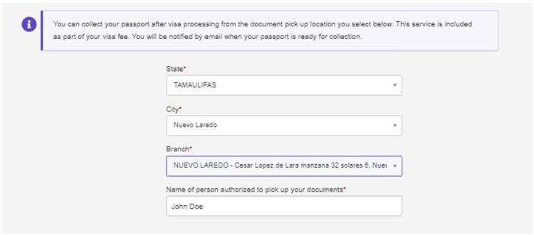 DHL Passport Pickup Delivery Address location in Nuevo Laredo Mexico