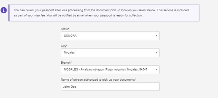 DHL Passport Pickup Delivery Address location in Nogales Mexico