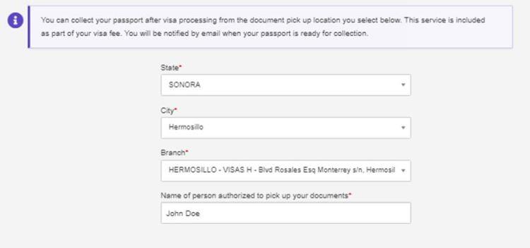 DHL Passport Pickup Delivery Address location in Hermosillo Mexico
