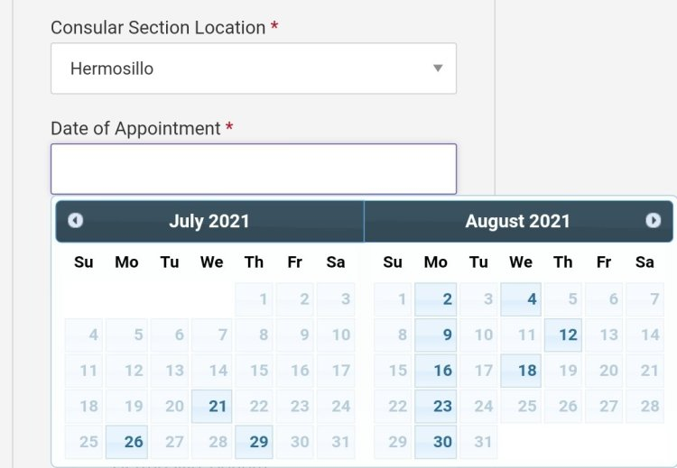 Current Visa Appointment Interview Dates Availability in Mexico 2021 7 Mexico US Visa Stamping Visa Info H1B Appointment