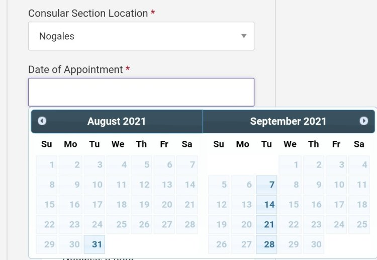 Current Visa Appointment Interview Dates Availability in Mexico 2021 4 Mexico US Visa Stamping Visa Info H1B Appointment