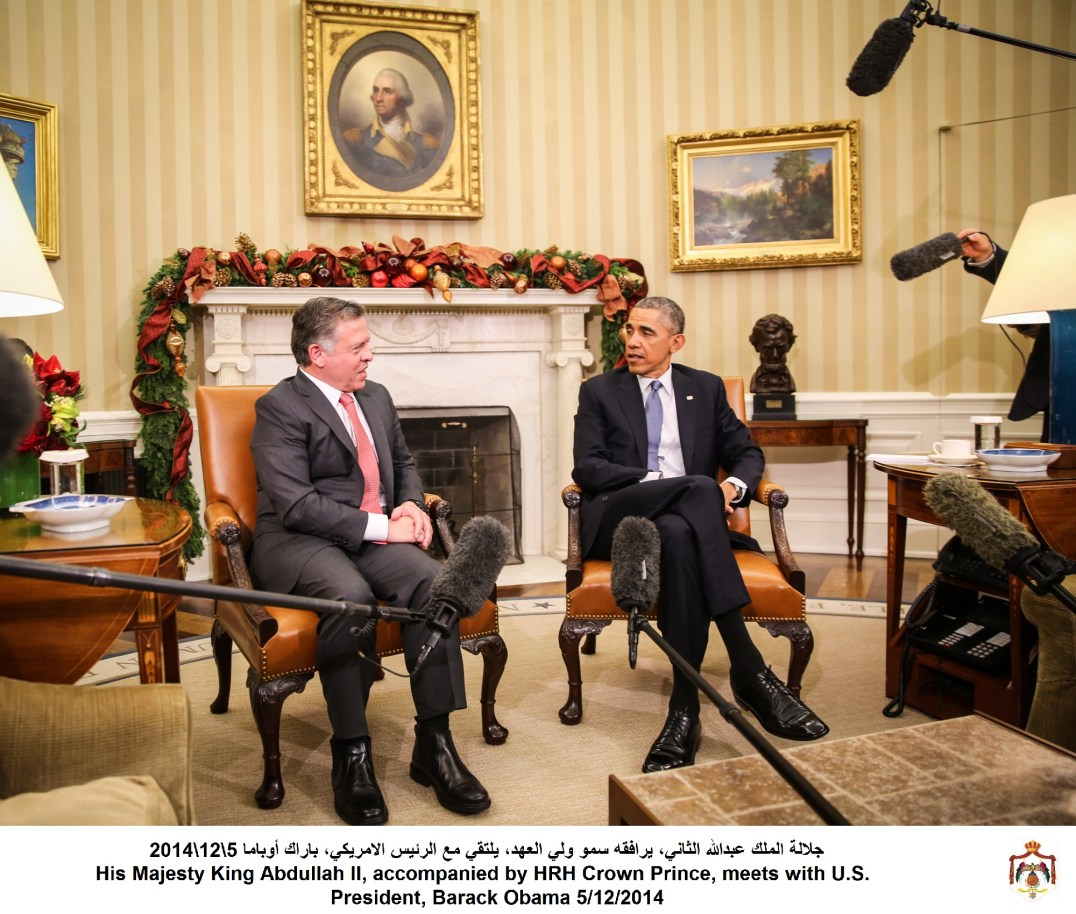 His Majesty King Abdullah II, accompanied by HRH Crown Prince, meets with U.S. President, Barack Obama