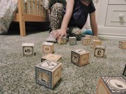 Penny Winkler plays with her Jewish blocks (Madison Butcher)
