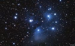 The open cluster called the Pleiades (M45) from Wikipedia.