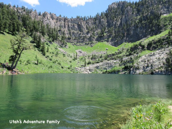 Bloomington Lake is beautiful, but busy. There is also an arch up in the rock walls up there.