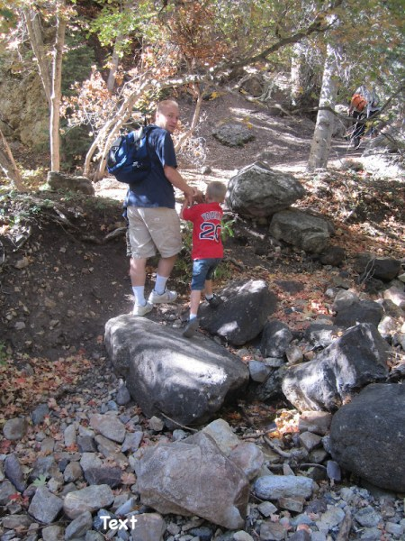 The trail--there are a few boulders to scramble over.