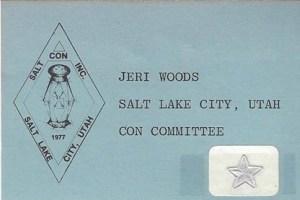 Saltcon Concom badge (Jeri Woods)