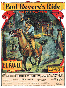 Cover for music about Paul Revere's Ride, E.T. Paul Music Company