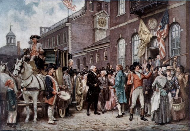 Washington's Inauguration at Philadelphia. Painting by Jean Leon Gerome Ferris (1863-1930) Wikimedia Commons - Public Domain