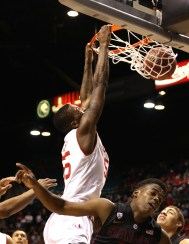 Delon dunks in second half action against Stanford in PAC-12 tournament (Photo: Bryan Byerly)