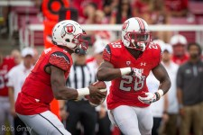 Troy Williams fakes a handoff to Joe Williams (Photo Rob Gray - University of Utah Athletics)