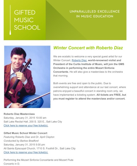 Winter Concert with Roberto Diaz