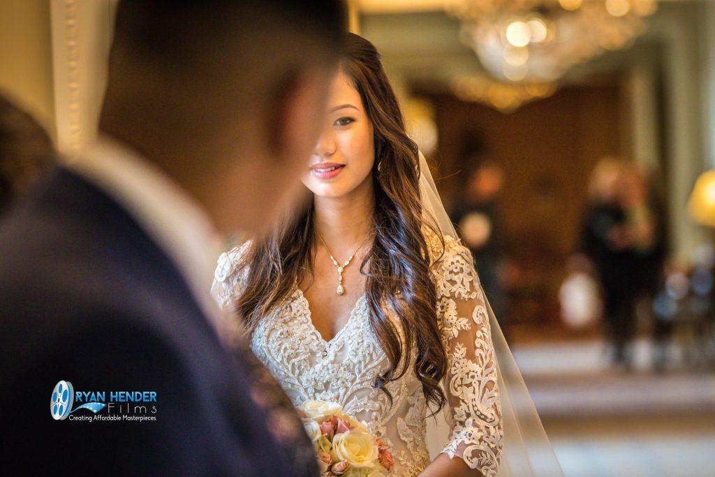 bride looking at groom wedding ceremony
