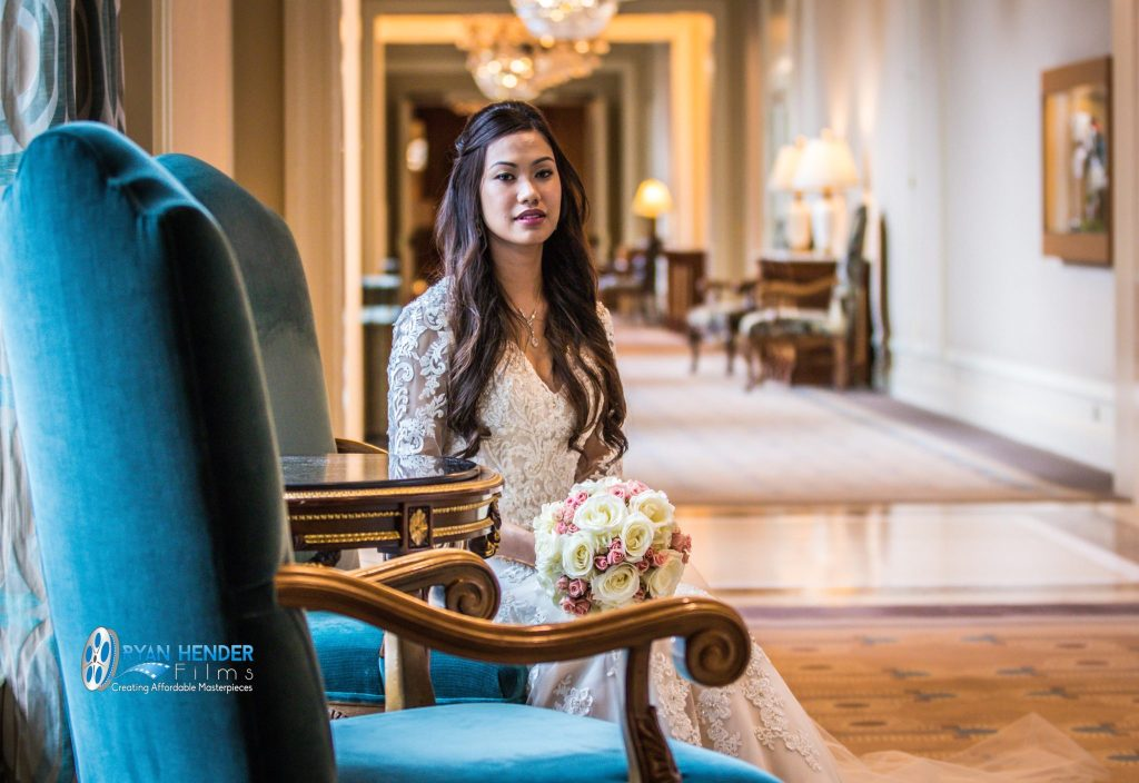 bride sitting in chair grand america
