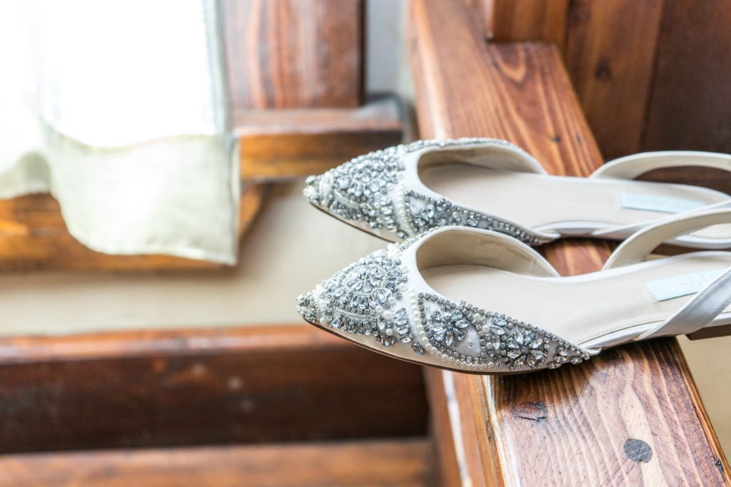 bride's shoes with jewels