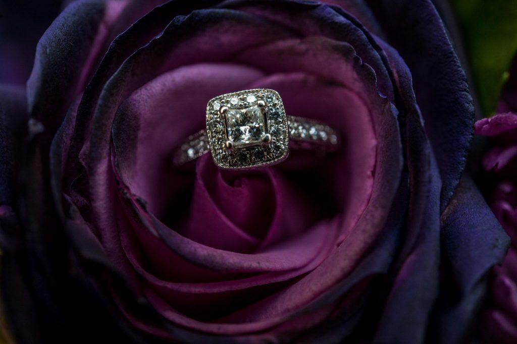 wedding ring inside flower noah's wedding venue utah