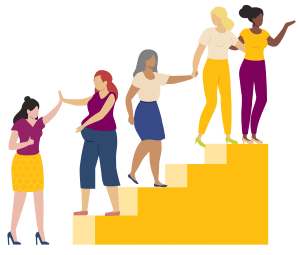 women helping each other climb