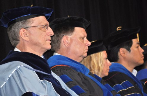 A scene from the May 2014 College of Liberal Arts Commencement ceremony May 9, 2014, at the College Park Center. (Photo by James Dunning)