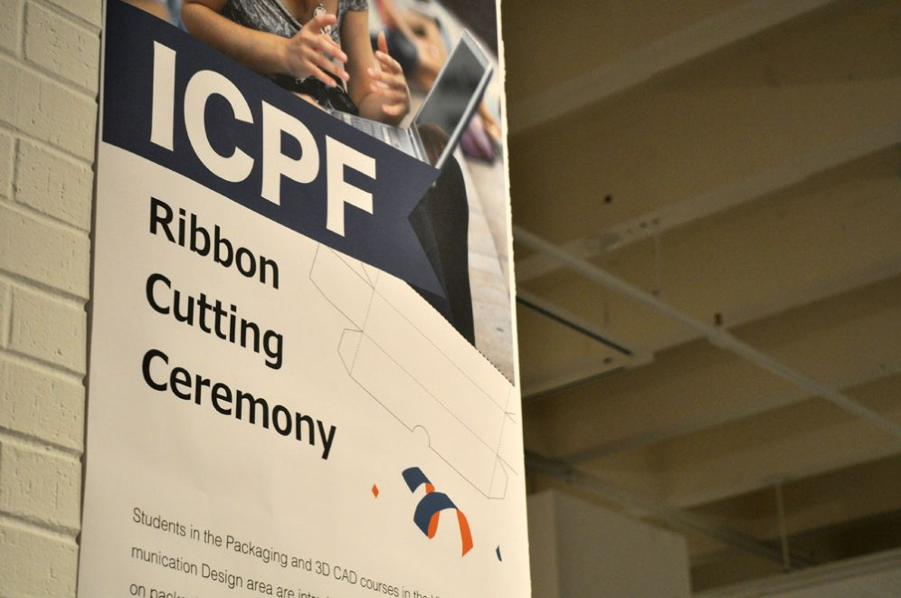 The UT Arlington Department of Art & Art History and International Corrugated Packaging Foundation (ICPF) held a ribbon cutting ceremony Oct. 28 for new equipment in the department's CorrPro Design lab. (Photo by James Dunning/COLA Communications)