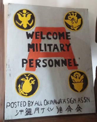 A sign welcoming U.S. military personnel in Okinawa, Japan. (Photo contributed)