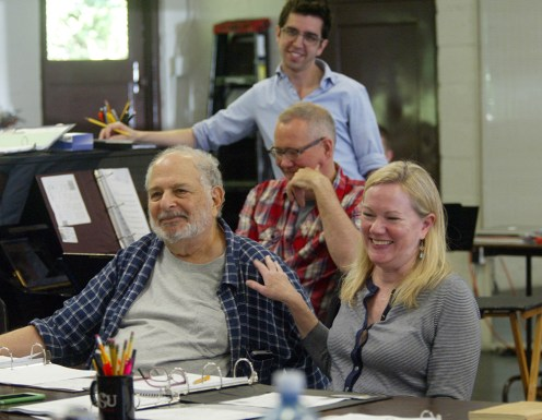 """The Goodspeed Musicals' """"My Paris"""" creative team included Alfred Uhry and Kathleen Marshall (front row) with David Chase (middle) and David Gardos (back). (Photo by Diane Sobolewski)"""