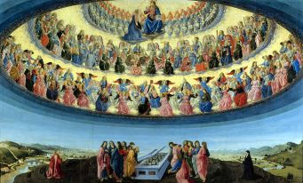 The assumption of Mother Mary into the family of saints in Heaven