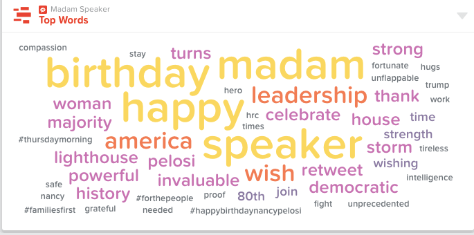 """World Cloud of top words used in posts about """"Madam Speaker""""."""