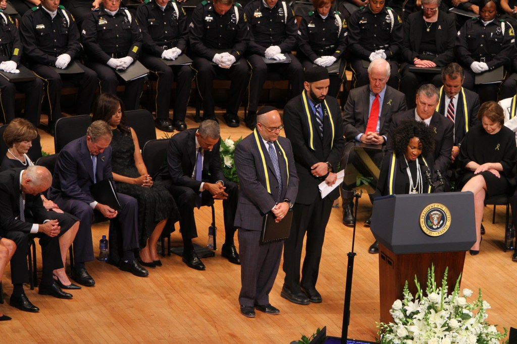 Rabbi Andrew Marc Paley (left), Imam Omar Suleiman and Dr. Sheron C. Patterson spoke at the interfaith memorial service.